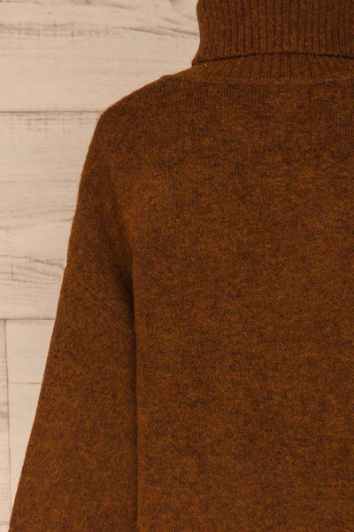 Sochi Brown Turtleneck Knit Sweater | La petite garçonne  back close-up