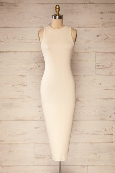 Sofia Beige Ribbed Sleeveless Midi Dress | La petite garçonne front view