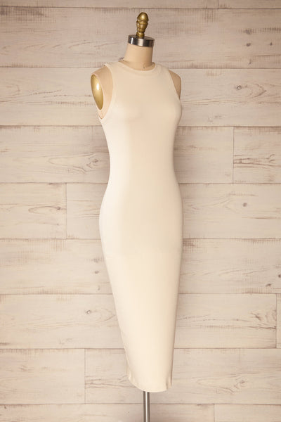 Sofia Beige Ribbed Sleeveless Midi Dress | La petite garçonne side view