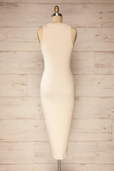 Sofia Beige Ribbed Sleeveless Midi Dress | La petite garçonne back view