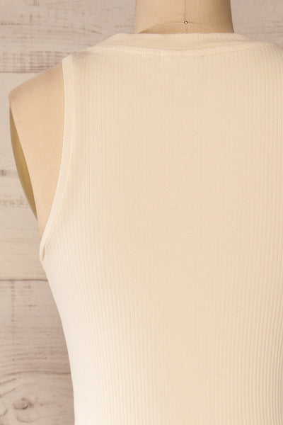 Sofia Beige Ribbed Sleeveless Midi Dress | La petite garçonne back close-up