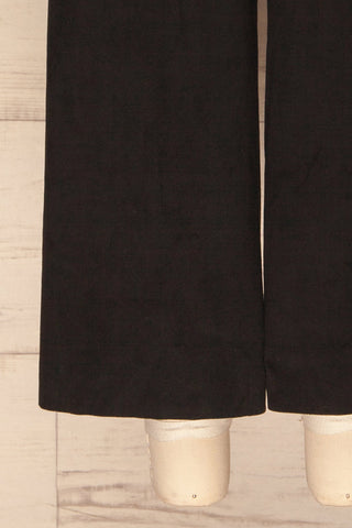 Sofiana Black Faux Suede Wide Leg Jumpsuit | La Petite Garçonne bottom close-up