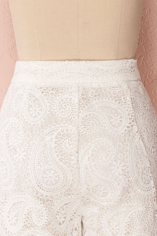 Sokaina White Crocheted Lace Cropped Trousers | Boudoir 1861