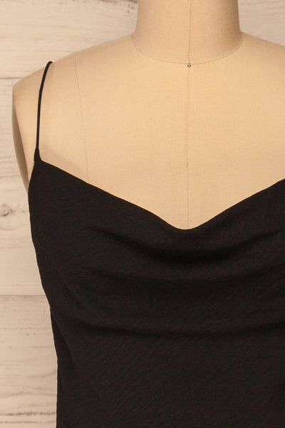 Solin Black Cowl Neck Tank Top | La petite garçonne front close-up