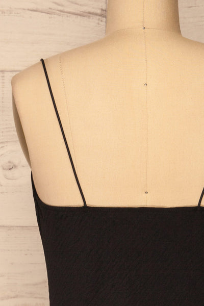 Solin Black Cowl Neck Tank Top | La petite garçonne back close-up