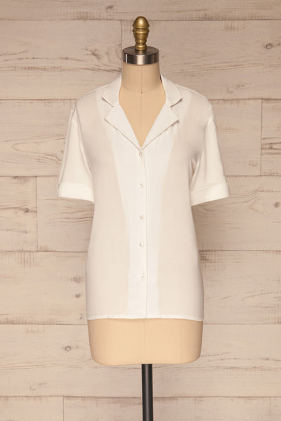 Soresina White Short Sleeved Shirt | La petite garçonne front view