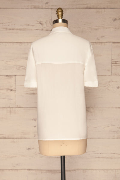 Soresina White Short Sleeved Shirt | La petite garçonne back view
