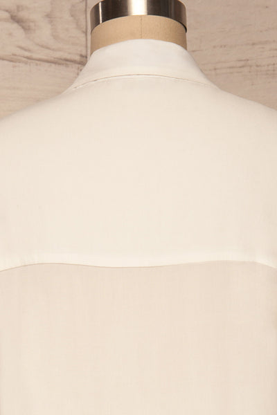 Soresina White Short Sleeved Shirt | La petite garçonne back close up