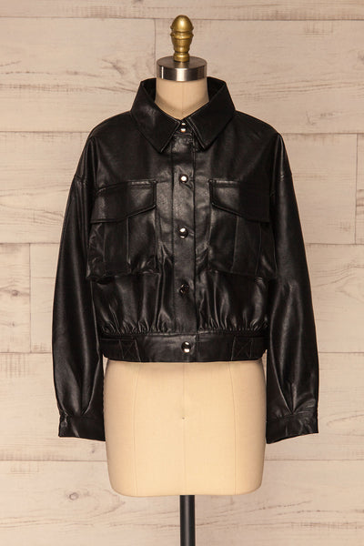 Sosnowiec Cropped Faux-Leather Jacket | La petite garçonne front view