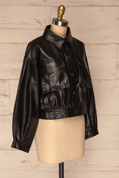 Sosnowiec Cropped Faux-Leather Jacket | La petite garçonne side view