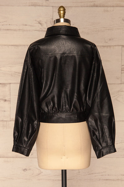Sosnowiec Cropped Faux-Leather Jacket | La petite garçonne back view