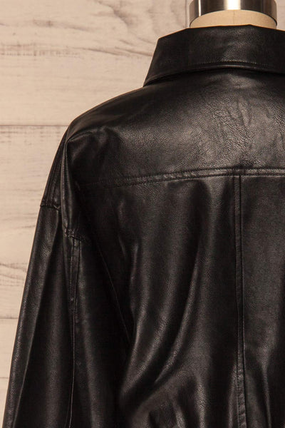 Sosnowiec Cropped Faux-Leather Jacket | La petite garçonne back close-up