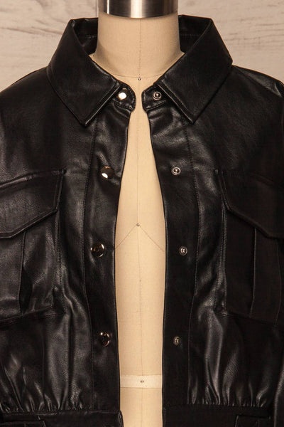 Sosnowiec Cropped Faux-Leather Jacket | La petite garçonne front close-up open
