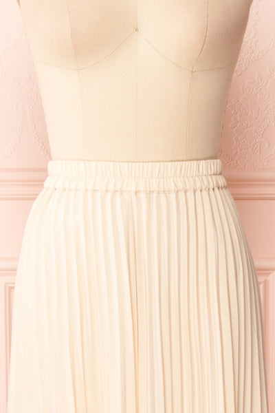 Spaewife White Chiffon Pleated Midi Skirt | Boutique 1861 front close up