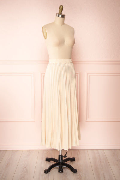 Spaewife White Chiffon Pleated Midi Skirt | Boutique 1861 side view
