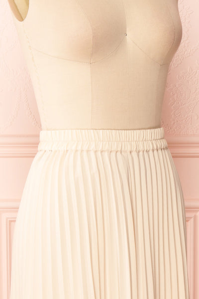 Spaewife White Chiffon Pleated Midi Skirt | Boutique 1861 side close up
