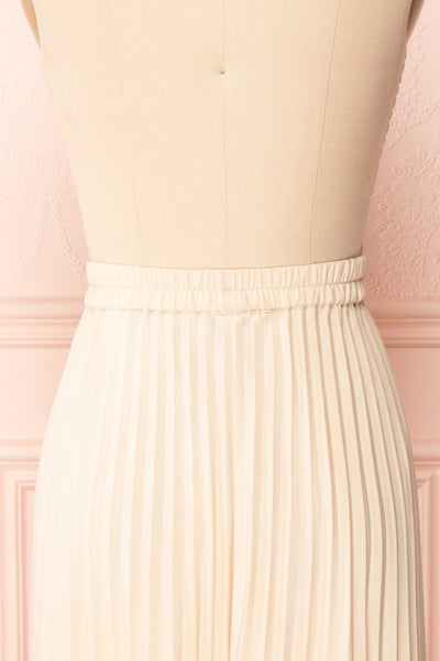 Spaewife White Chiffon Pleated Midi Skirt | Boutique 1861 back close up