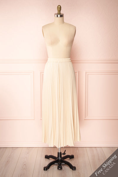 Spaewife White Chiffon Pleated Midi Skirt | Boutique 1861 front view