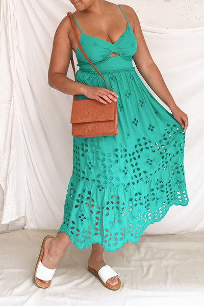 Spirea Turquoise Openwork Midi Dress | Boutique 1861 model look