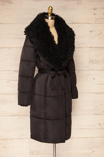 Spoleto Black Long Quilted Coat | La petite garçonne side view