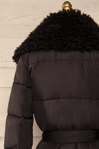 Spoleto Black Long Quilted Coat | La petite garçonne back close-up
