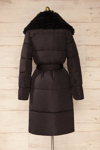 Spoleto Black Long Quilted Coat | La petite garçonne back view