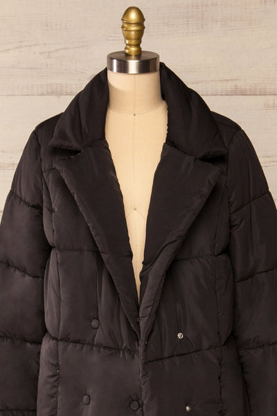 Spoleto Black Long Quilted Coat | La petite garçonne open close-up