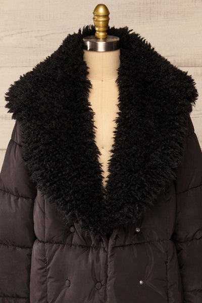 Spoleto Black Long Quilted Coat | La petite garçonne open fur close-up
