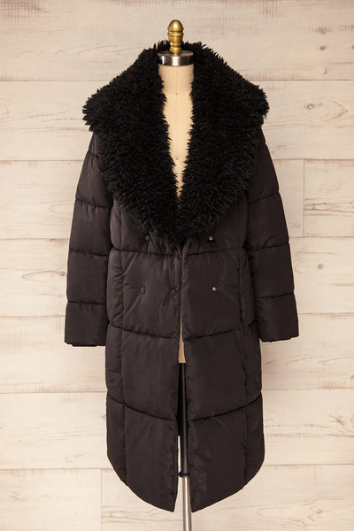Spoleto Black Long Quilted Coat | La petite garçonne open fur view