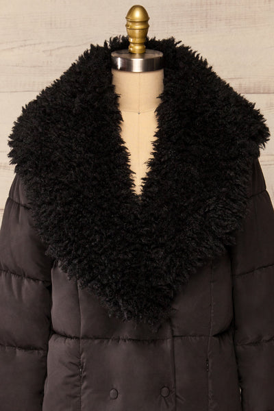 Spoleto Black Long Quilted Coat | La petite garçonne fur close-up