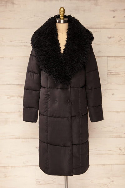 Spoleto Black Long Quilted Coat | La petite garçonne fur view