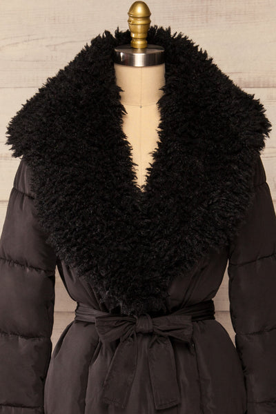 Spoleto Black Long Quilted Coat | La petite garçonne front close-up