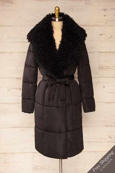 Spoleto Black Long Quilted Coat | La petite garçonne front view