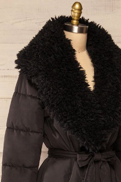 Spoleto Black Long Quilted Coat | La petite garçonne side close-up
