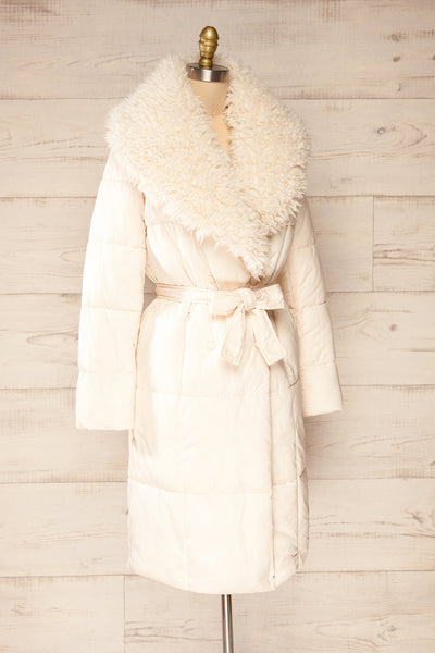 Spoleto Ivory Long Quilted Coat | La petite garçonne side view