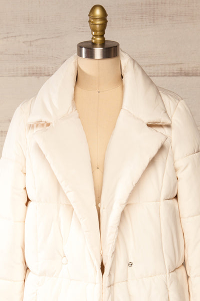 Spoleto Ivory Long Quilted Coat | La petite garçonne open close-up