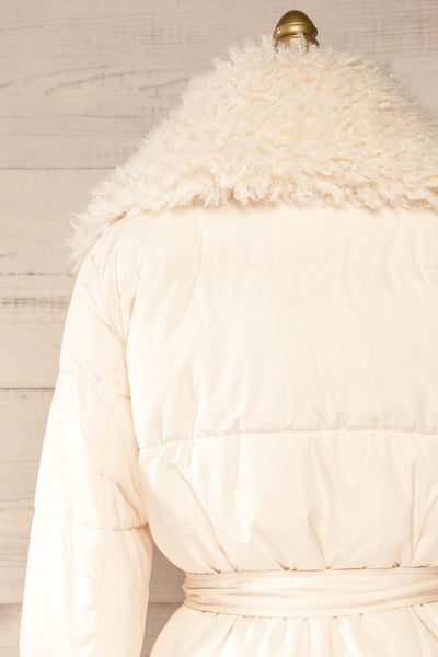 Spoleto Ivory Long Quilted Coat | La petite garçonne back close-up