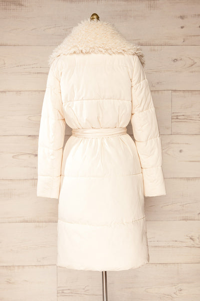 Spoleto Ivory Long Quilted Coat | La petite garçonne back view