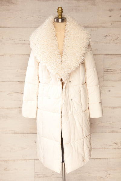 Spoleto Ivory Long Quilted Coat | La petite garçonne open fur view