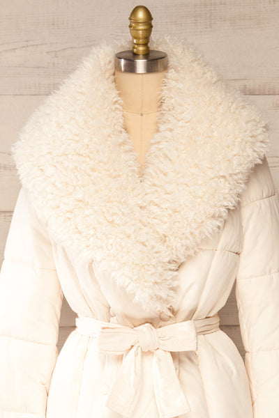 Spoleto Ivory Long Quilted Coat | La petite garçonne front close-up