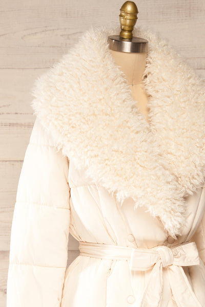 Spoleto Ivory Long Quilted Coat | La petite garçonne side close-up