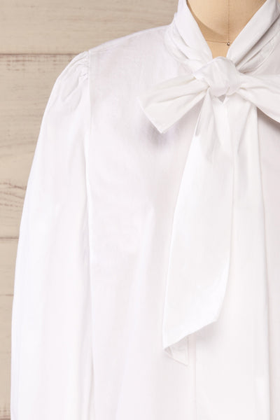 Spoletti White Long Sleeve Bow Blouse | La petite garçonne front close-up