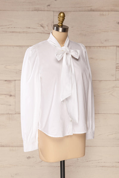 Spoletti White Long Sleeve Bow Blouse | La petite garçonne side view