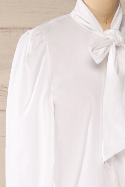 Spoletti White Long Sleeve Bow Blouse | La petite garçonne side close-up