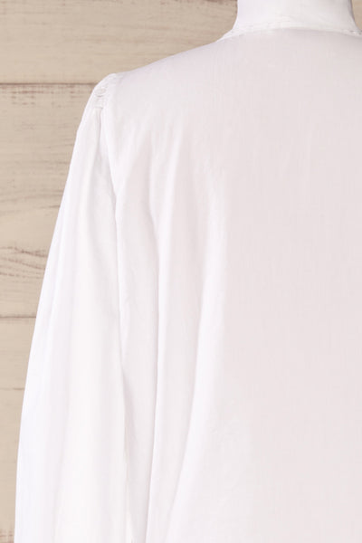 Spoletti White Long Sleeve Bow Blouse | La petite garçonne back close-up