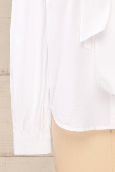Spoletti White Long Sleeve Bow Blouse | La petite garçonne bottom