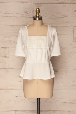 Steendorp White Short Sleeved Top with Peplum | La Petite Garçonne