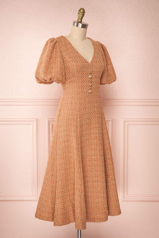 Stephim Salmon & Gold Tweed A-Line Midi Dress | Boutique 1861 side view
