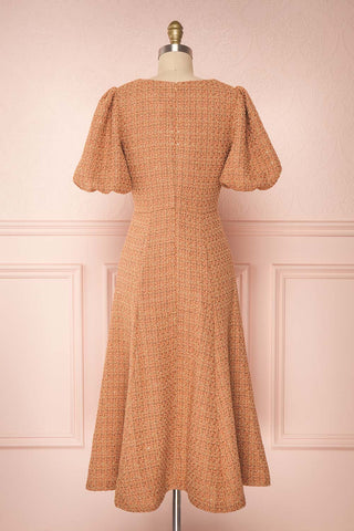 Stephim Salmon & Gold Tweed A-Line Midi Dress | Boutique 1861 back view