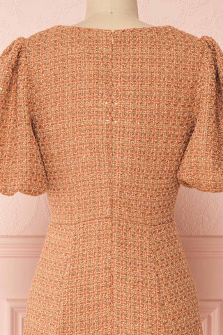 Stephim Salmon & Gold Tweed A-Line Midi Dress | Boutique 1861 back close-up